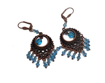 Earrings retro boho chic copper brass aquamarine Blue Crystal beads