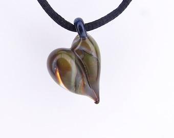 Glass Heart Pendant, Hand Blown Glass, Unique Valentine's Gift for Wife, Lampwork, Boro Glass Pendant, Love Jewelry, Third Anniversary Gift