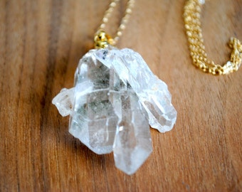 "Crystal Quartz Necklace. Gold Dipped. Raw Crystal Quartz. Quartz Cluster Necklace. 30"" 14k Delicate Gold Filled Chain"