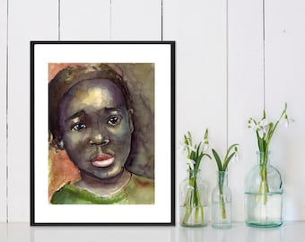 Art Painting Watercolor Jamaican Black Girl Portrait Print