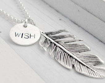 925 sterling silver chain - MAKE A WISH - engraving