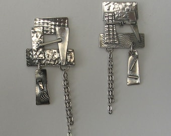 Asian Inspired Sculptural  Sterling Post Earrings
