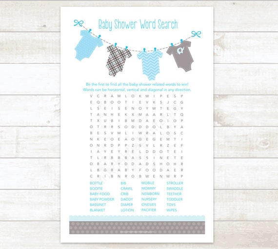 Baby Shower Word Search Game Baby Boy Shower Game Baby Blue