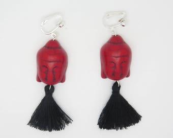 pair of earrings clip or pierced ear head of Buddha Howlite and Pompom Christmas gift idea