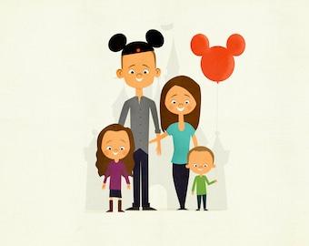 Custom Family Portrait at Disneyland