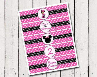 Minnie Mouse Water Bottle Labels - Birthday Personalized Printable - DIY