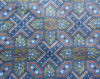 """Vintage 1940s/50s cotton fabric. Flowers, squares, scallops. Blue, white, green. By the yard, 35/36"""" wide."""