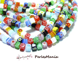 1 strand of approximately 105 beads CUBE 4mm multicolor HJ1132 Millefiori