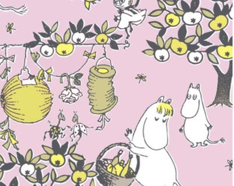 Moomin paper napkins for decoupaging, 20 napkins, each 24x24cm,  Finland pink