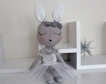 BUNNY FABRIC DOLL - Large - Gray - Simple and Chic Ballerina Theme - Heirloom Cloth Doll - Limited