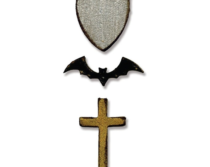 Sizzix Tim Holtz Alterations Movers and Shapers Magnetic Die Set 3PK - Tiny Bat, Cross & Shield