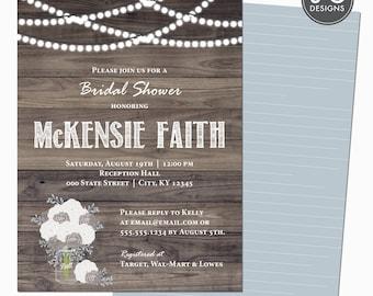 "5x7"" Rustic Bridal Shower Invitation & Envelopes, DIY"
