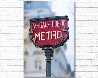 Paris Photography on Canvas - Art Nouveau Metro Sign, Classic Paris Icon, Gallery Wrapped Canvas, Large Wall Art