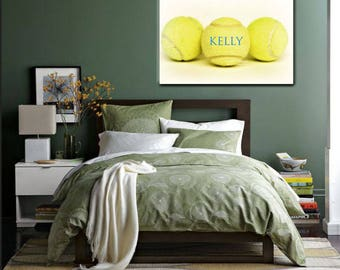 Custom Tennis Canvas-Personalized Wall Art-Name on Tennis Ball Canvas-Name Art-Sports Wall Decor-Fine Art Canvas Print-Girls Room Wall Art
