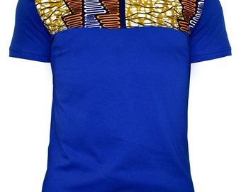 blue tee shirt with african print