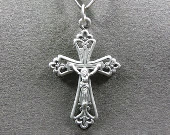 French, Antique Religious Silver Pendant, Cross, Crucifix. Jesus Christ, Sterling Medal. Gothic. Gothique. 160715 3 G