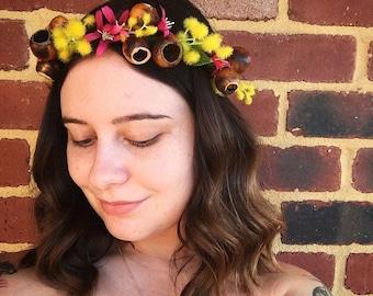 Lauren: Native handmade artifiical flower crown/silk/headband/floral headpiece/wreath/gum nuts