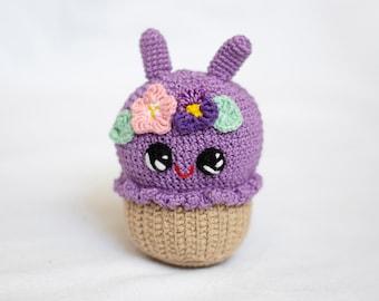 Crochet Baby toy Purple  bunny cupcake with flowers, Kawai Amigirumi Play Food Soft Toy, Plush Cake, children's rooms Decor
