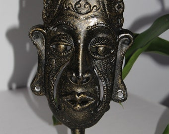 """Wrought Iron Candle Holder - Unpainted Chief Mask – Approx. 12"""" H"""