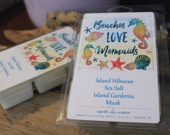 Beaches Love Mermaids 6-pack JUMBO soy melts - Island Hibiscus - Beach scents - coastal scents - tropical - island time - mermaids