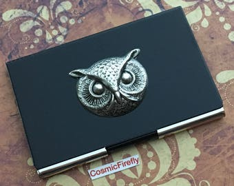 Owl Business Card Case Silver & Black Carbon Fiber Style Industrial Steampunk Card Case Men's Gift Women's Gifts Owl Card Wallet