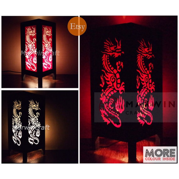 Asian oriental dragon lantern japanese lamp zen bedside lamp floor table lamp paper japanese light lamp shade bedroom home decor living room