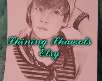 Kpop SHINee Kim Jonghyun 4X5.5 graphite print traditional artwork