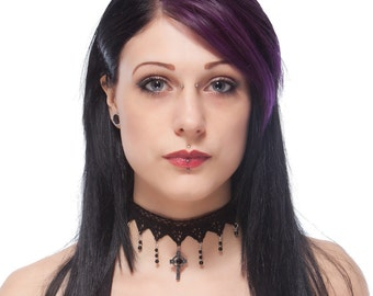 Gothic lace choker with a Black Onyx cross and Jet Swarovski cascade - IMMORTAL