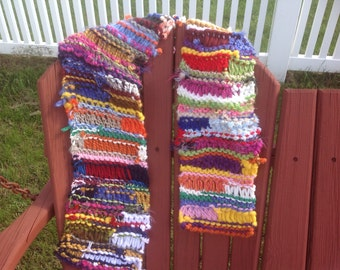 Boho scrappy colorful hand knit scarf OOAK