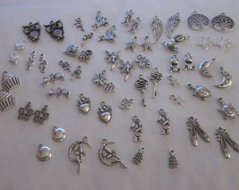 60 mixed silver charms 30 different patterns #A