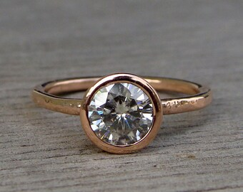 Rose Gold Engagement Ring - Forever One G-H-I Moissanite and Recycled 14k Rose Gold, Made to Order - Eco-Friendly Diamond Alternative