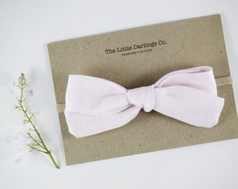 Hand Tied Hair Bow 100% Linen Large Schoolgirl in Light Pink // Clip or Band