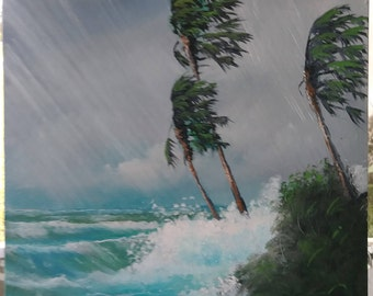 Original oil Painting Florida Landscape Art Gale Winds Hurricane Irma 16x20 unframed