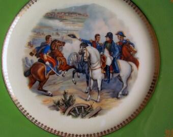 Antique Porcelain Plate Napoleon Bonaparte French Military Battle by Royal Epiag Czechoslavakia