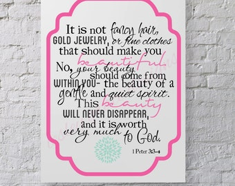 Beauty from within... Typography Art, 11x14