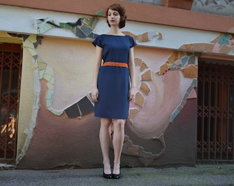 Blue Dress with Orange Detail