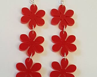 Flower Chain Earrings - Acrylic