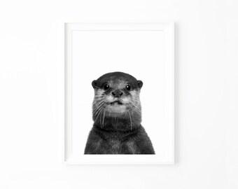 Woodland Nursery Art Print, Nursery Decor, Nursery Art Print Printable, Otter Print, Otter Printable Download Baby Animals Art Print  ot2bwp