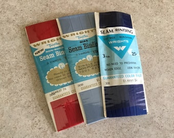 3 Vintage New Seam Binding Packages~Craft Supplies~Patriotic Ribbon~Boho Hoop Crafts~Sewing