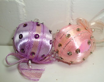 Pair of Vintage Handcrafted Christmas Ornaments,  Round, Satin, 1970's Retro, Pink,  Purple