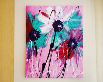 Aqua and White Abstract Spring Flower Acrylic Painting # 2 Bursting with Color