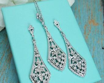 Art Deco Jewelry Set, cubic zirconia jewelry set, art deco wedding necklace set, bridal jewelry, wedding set, Elena Art Deco Jewelry Set