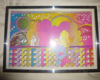 1969 Peter Max Original Print - Man Must Moon - Gorgeous Hippie Colors Celebrate The Moon Landing