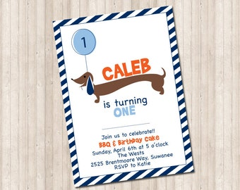 Custom Dachshund Invitation- Doxie with balloon (can do any age and colors)
