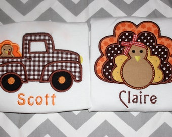 Personalized Coordinating Sibling Turkey Thanksgiving Shirts