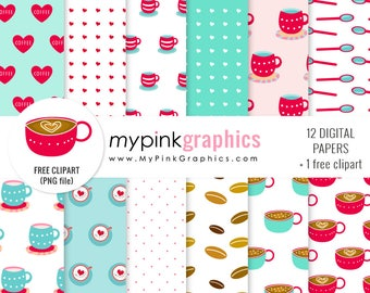 Coffee digital paper, coffee paper pack, coffee pattern, mug clipart, patterned coffee mug, cute coffee clipart, COMMERCIAL USE - MPG63