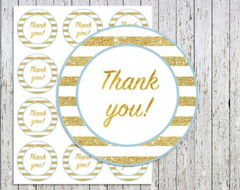 Thank you Tags Printable, Thank you Stickers, Baby Shower Thank you Tags, Favor Tags, Blue and Gold Thank you Labels, Thank you Stickers