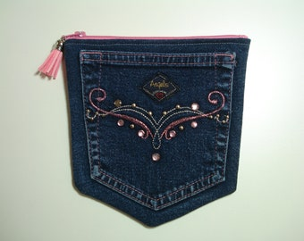 DENIM Jeans POCKETS / Angels Jeanswear with PINK Bling / Blue Jeans Purse / Two Pocket Zip Pouch / Double Compartments / Upcycled Blue Jeans