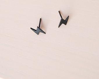 Mini Lightning Bolt Earrings - Modern Studs - Jack Black Minimalist Symbol Earrings - Avant Garde - Minimal Post Earrings - Flash Sign