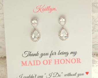 Thank you for being my Maid of Honor, Maid of Honor Earrings, double teardrop earrings, Bridal party earrings, Boxed maid of honor gift